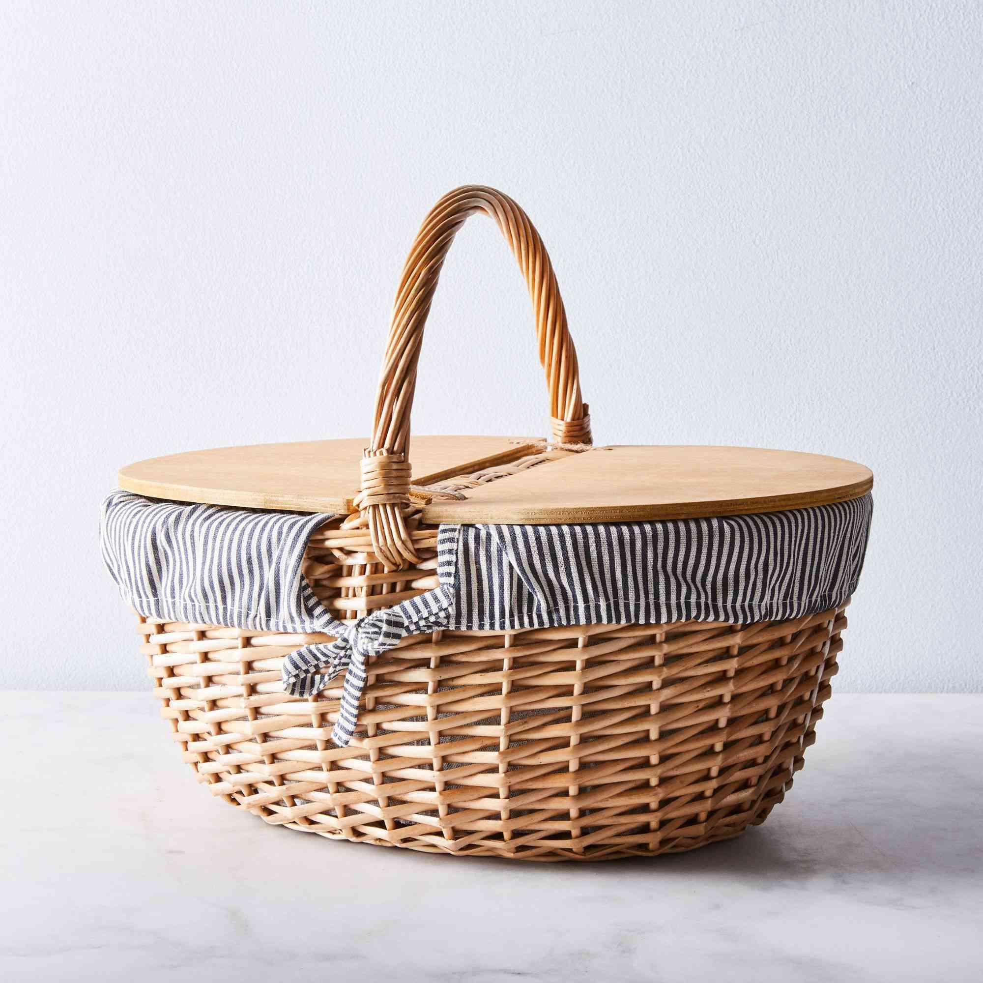 Blue & White Striped Picnic Basket