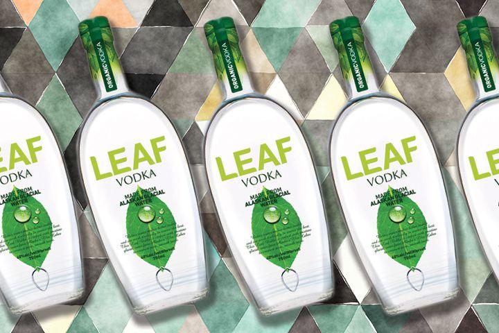 Leaf vodka bottles