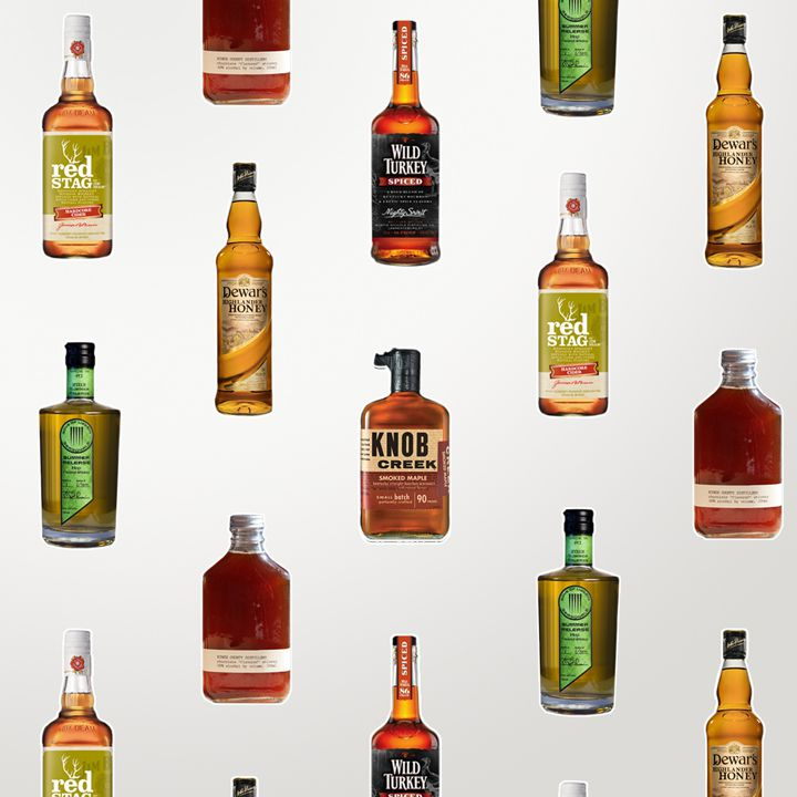 Flavored whiskey photo composite