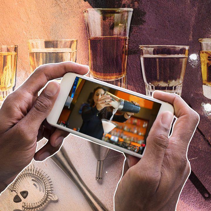 photo illustration of bartender