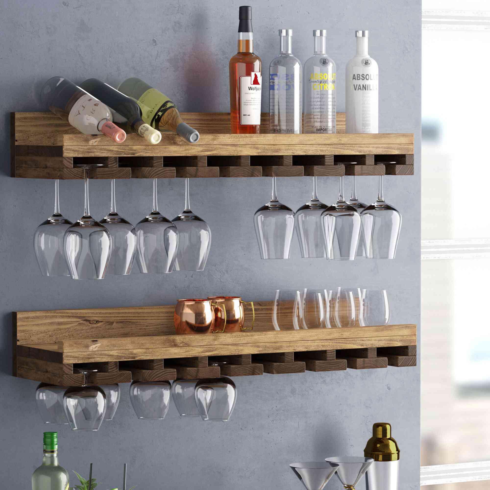 Trent Austin D Bernardo Solid Wood Wall-Mounted Wine Glass Rack