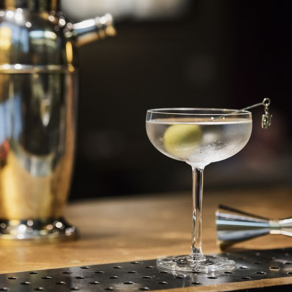 martini in coupe with jigger and shaker