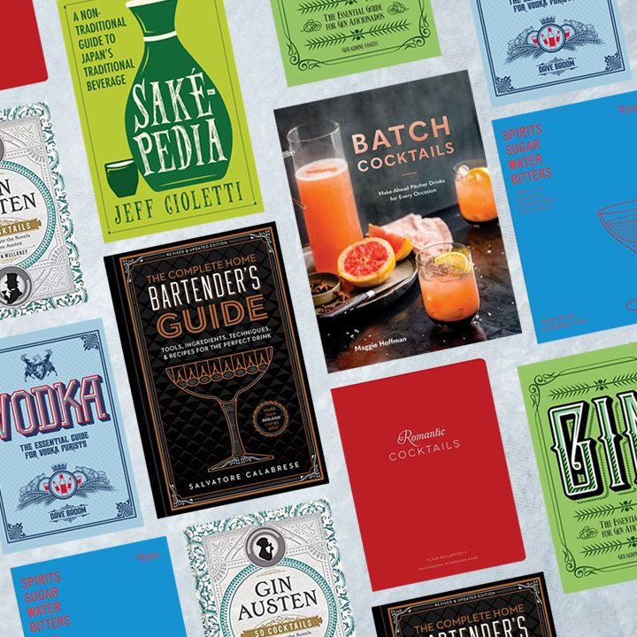 Diagonal composite of various cocktail and spirits titles, including Batch Cocktails by Maggie Hoffman, Romantic Cocktails by Clair McLafferty, SakePedia by Jeff Cioletti, and others. Covers range from green to blue to red to black and are against a textured light gray background