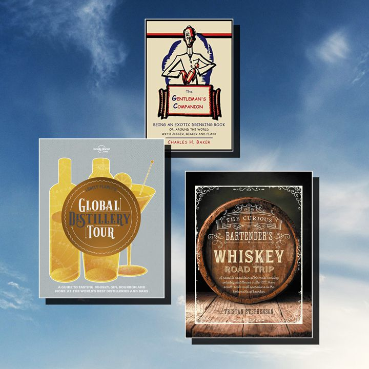 Bartender travel book composite featuring three titles (The Gentleman's Companion, Global Distillery Tour, and The Curious Bartender's Whiskey Road Trip) against a blue cloudy sky background