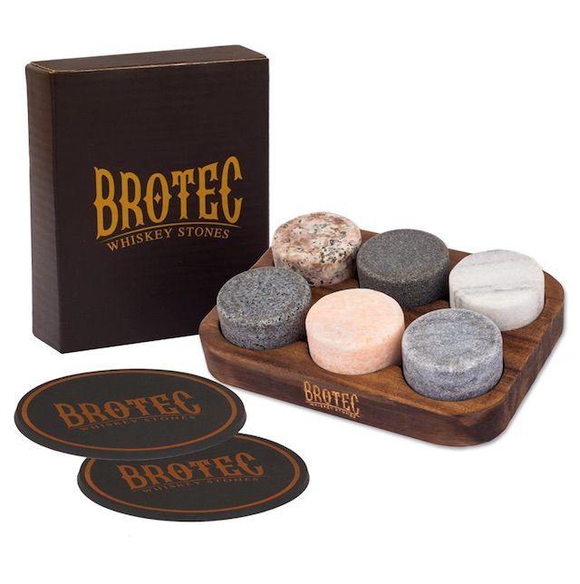 BROTEC Round Granite Whiskey Stones with Coasters