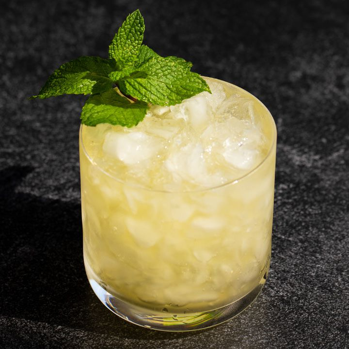 A double old fashioned glass is filled with crushed ice and an amber-hued julep. A single sprig of mint garnishes the drink.