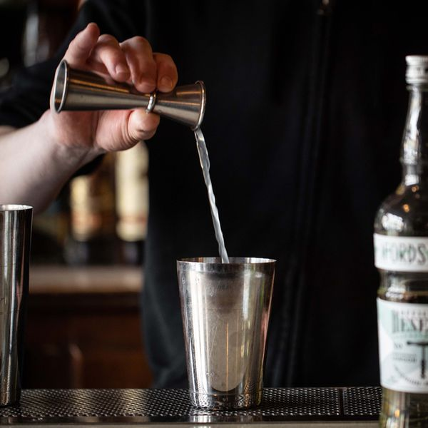 Mixing a cocktail with Fords Officers' Reserve, a 109-proof navy-strength gin