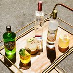 A collection of botanical vodka bottles on a modern-style bar cart with cocktails.