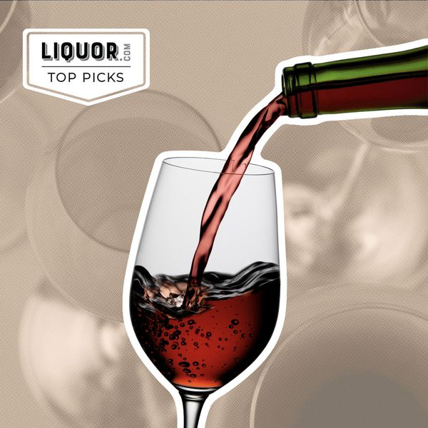 Photo composite of a wine bottle pouring into a wine glass.