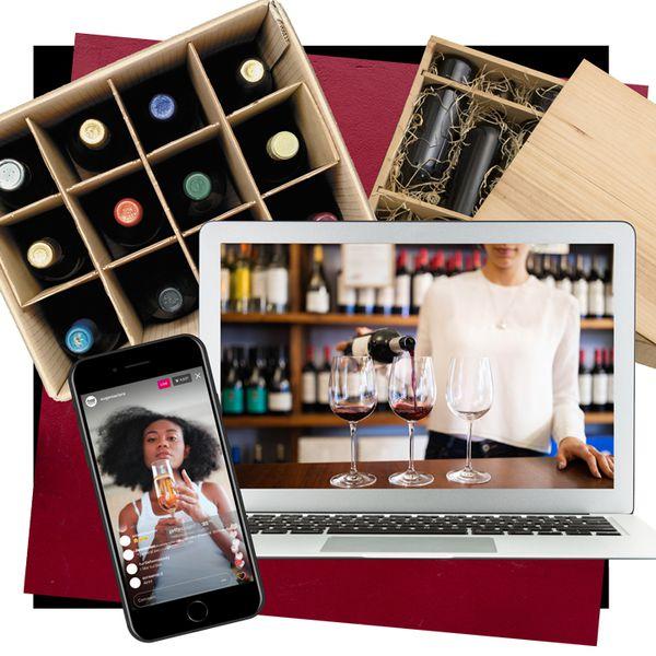 photo composite of wine bottles