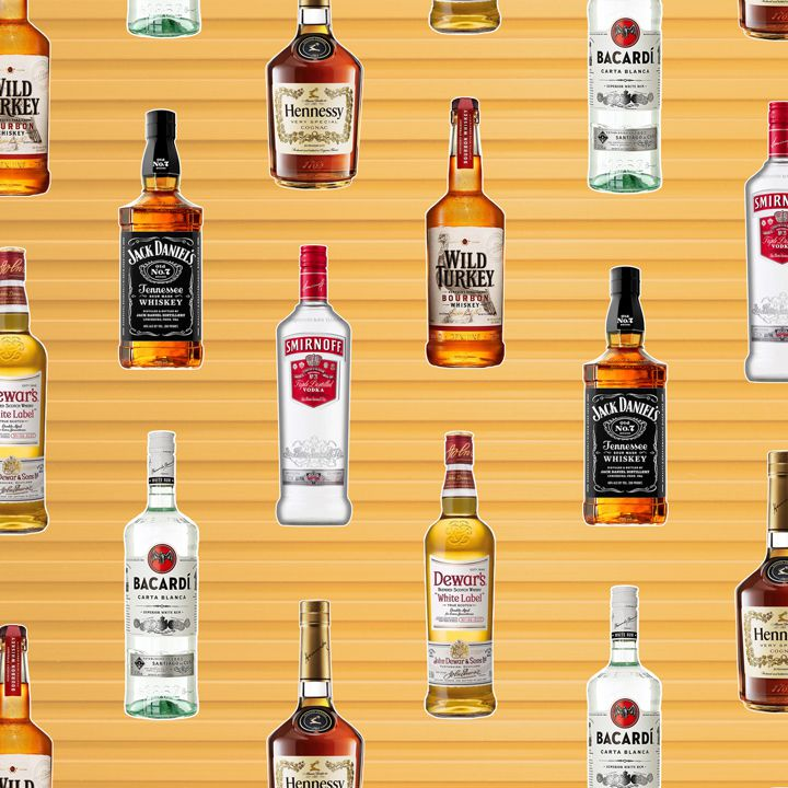 a collage of liquor bottles, including Smirnoff and Bacardi, on a slatted background