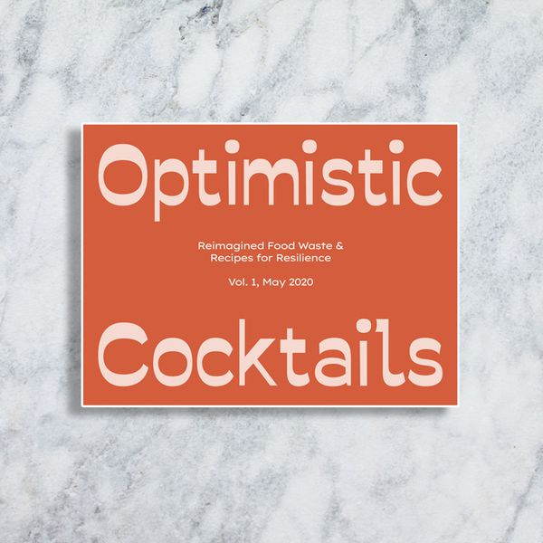 Optimistic Cocktails book cover, dark seventies orange with light pink retro text