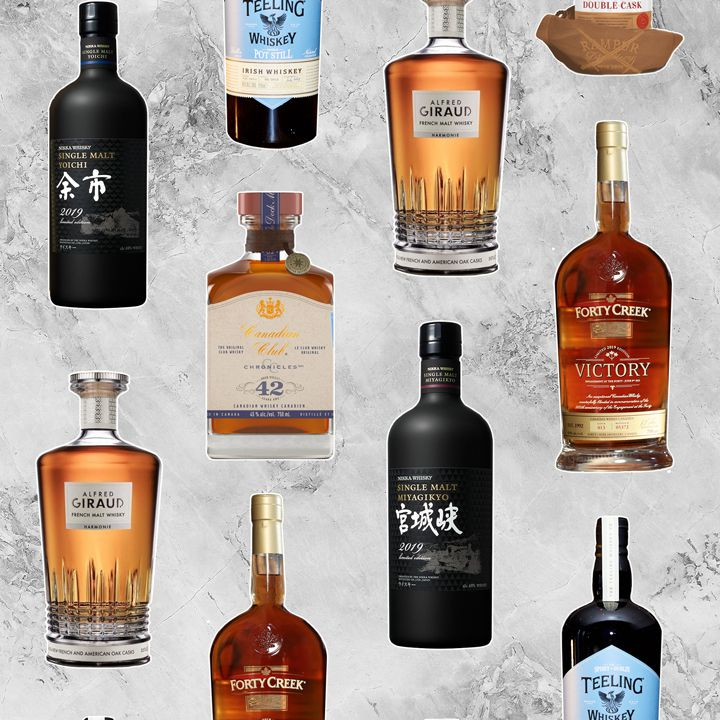 World whiskey bottles