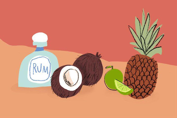 Pina Colada ingredients illustration