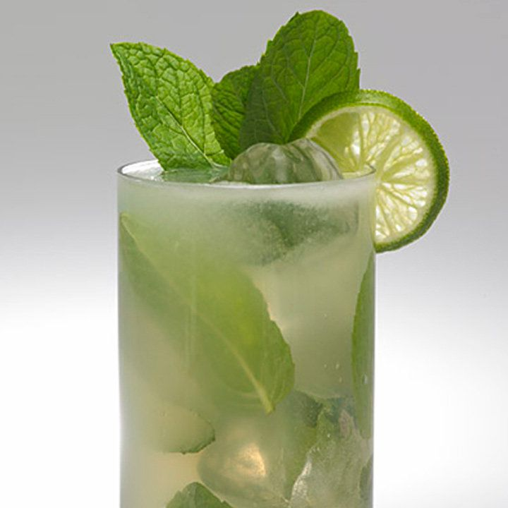 The top half of a collins glass is shown on a blank background. The glass holds ice cubes, whole fresh mint leaves, and a pale brown soda. The drink is garnished with a sprig of mint and a wheel of lime.