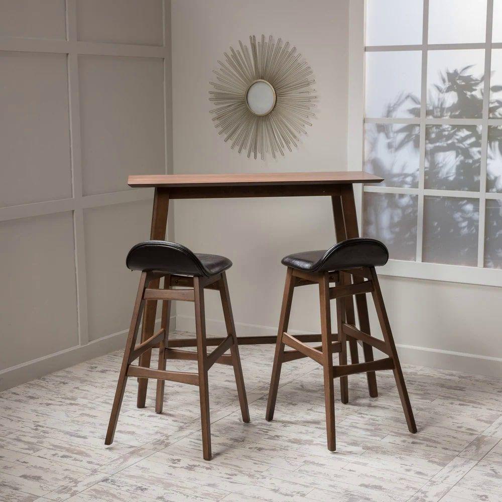 Carson Carrington Viborg Wood Bar Stool and Table Set