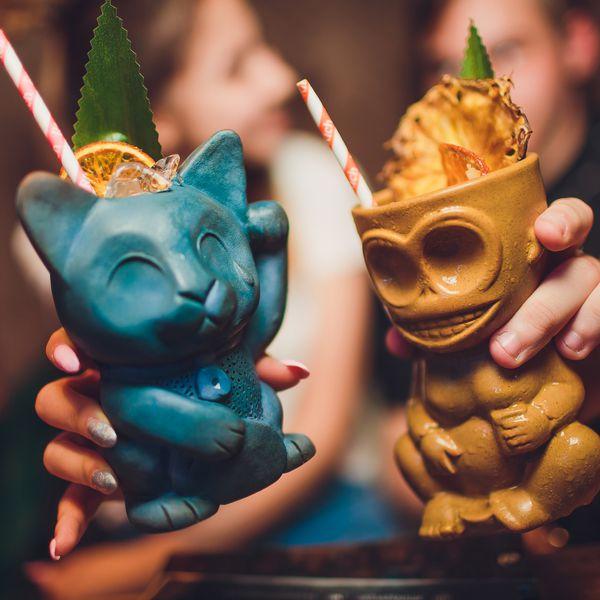 tiki style cocktail mugs