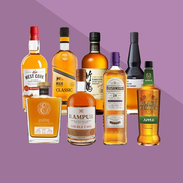 World whiskey bottles