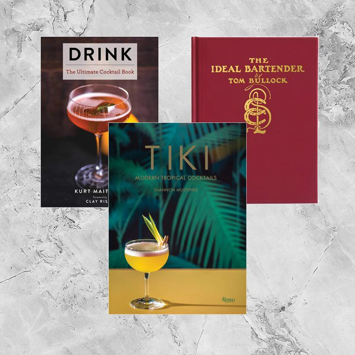 Photo composite of cocktail books by Black authors, including Tiki: Modern Tropical Cocktails, The Ideal Bartender and Drink: The Ultimate Cocktail Book. Titles set against marble-esque ice textured background