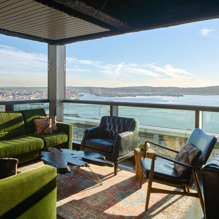 The Nest interior with views out over Puget Sound