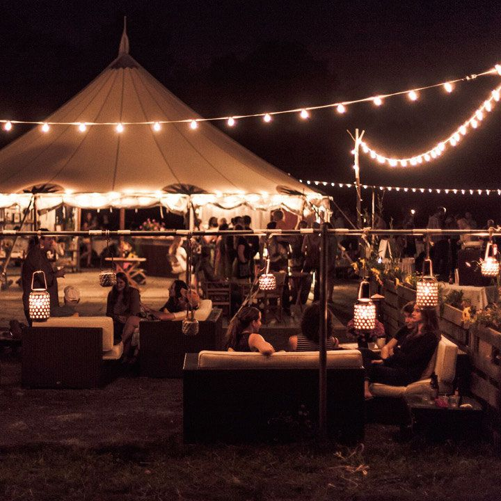 Firelight Camps lobby tent and outdoor bar