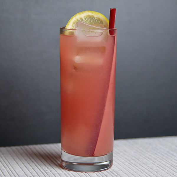 Rhubarb and Strawberry Collins