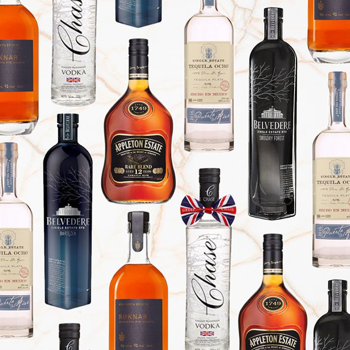 a collage of single-estate spirits bottles on a white background