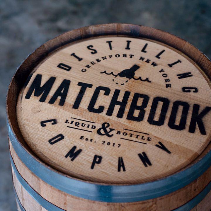 Branded Matchbook Distilling barrels