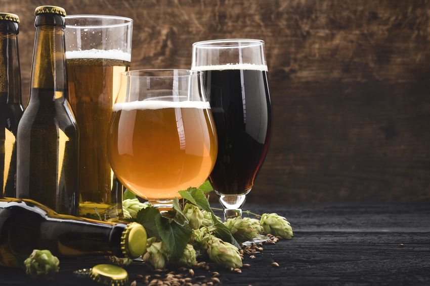 three glasses of beer and three bottles on a table with green hops flowers