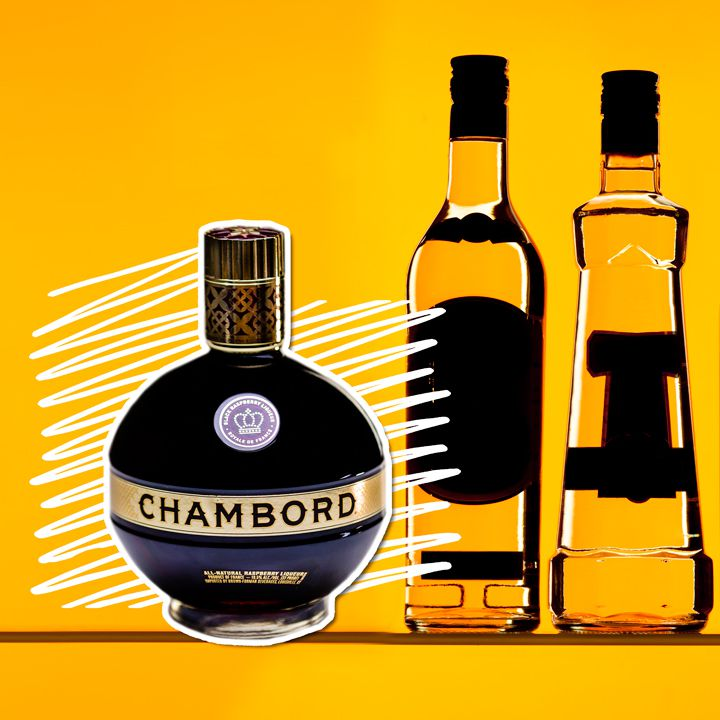 A squat, round bottle of Chambord, its name prominently printed on its golden label, sits on a yellow background with white squiggles directly behind. Next to it are the outlines of other bottles, their labels darkened.