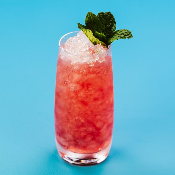 red-colored Gage Cobbler in a highball glass with crushed ice and a mint garnish