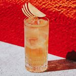 Spiced Apple Fizz cocktail with apple fan garnish, set against textured red wall