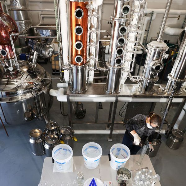 A distillery taking precautious during Covid
