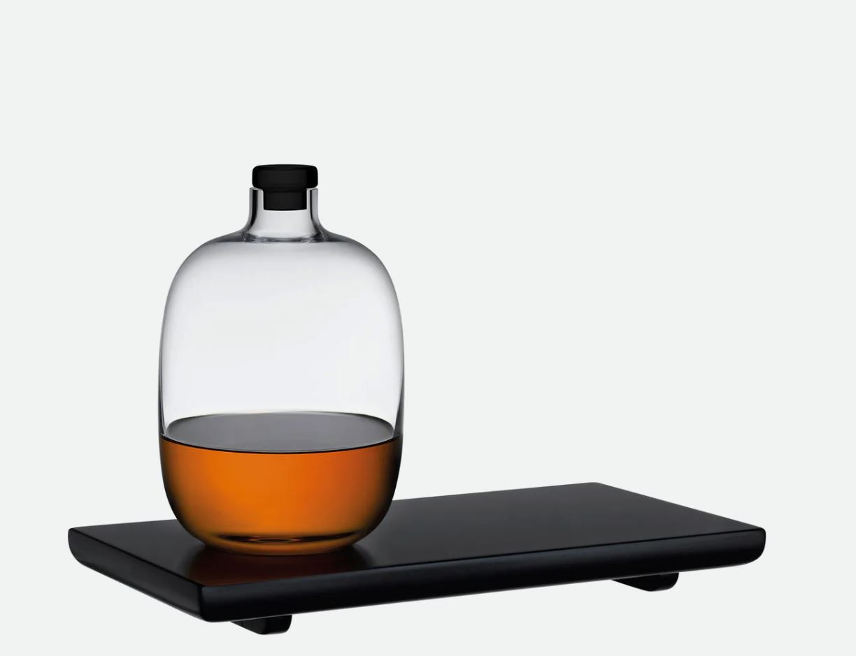 Nude Glass Malt Whiskey Bottle with Wooden Tray