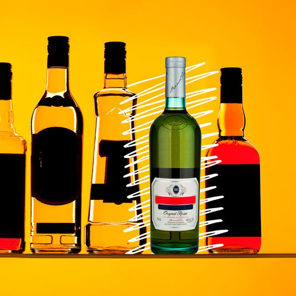 Photo illustration of various bottles all with their labels blacked out except a Pernod bottle, emphasized with hand-drawn white lines