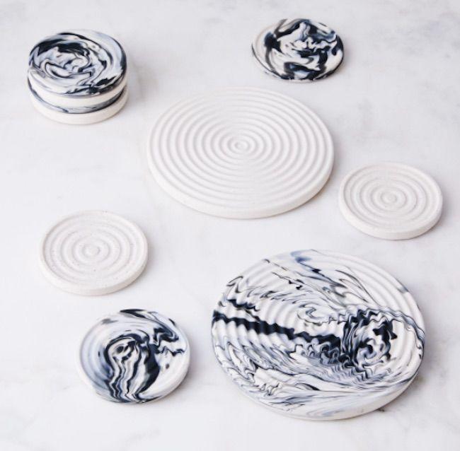 Slab Porcelain Trivet and Coasters, $34
