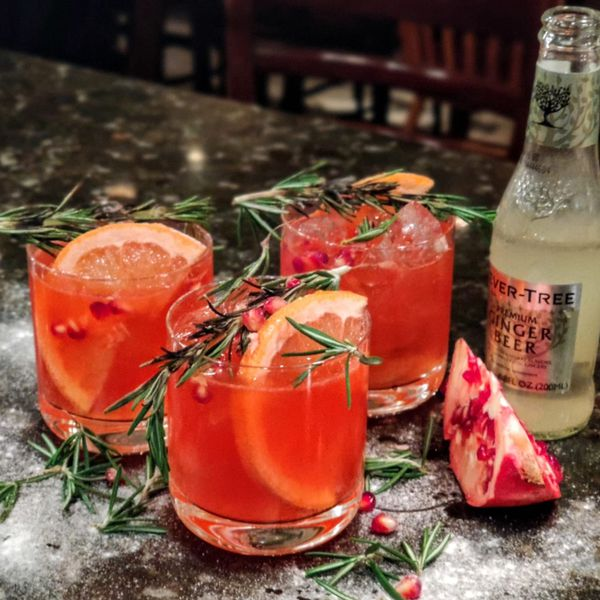 Three rocks glasses rest on a dark marble bar top. Each is filled with ice, a bright red punch, a large slice of grapefruit, pomegranate seeds, and a sprig of rosemary. Next to them is a bottle of Fever-Tree ginger beer.