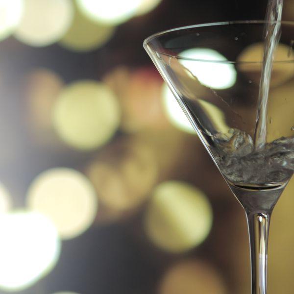pouring vodka or gin martini