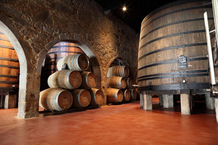 Inside a port cellar with red floors, stone walls, and stacked barrels