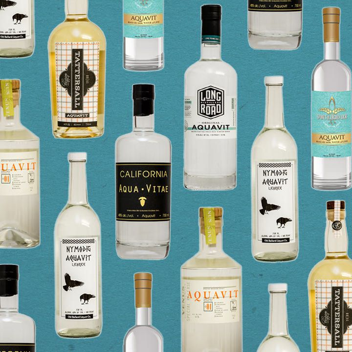 a collage of American aquavit bottles on a light-blue background
