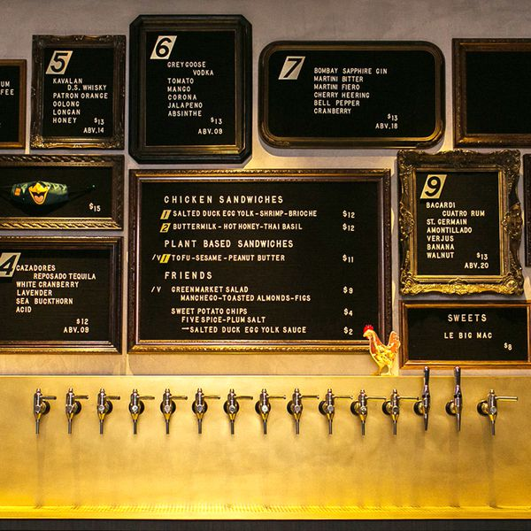 The menu posted on the wall at Double Chicken Please in New York City includes the ABV of each cocktail.