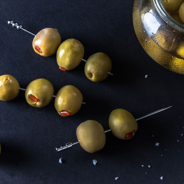 cocktail picks with olives