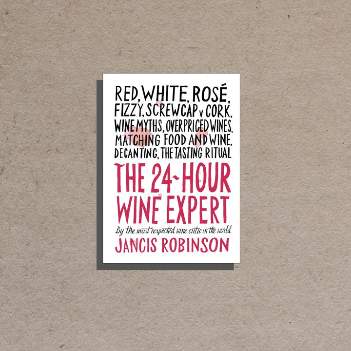 24-Hour Wine Expert cover, white background with large all-caps black and pink text