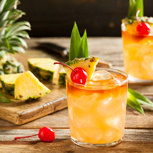 Mai Tai Cocktail with Pineapple Cherry and Rum