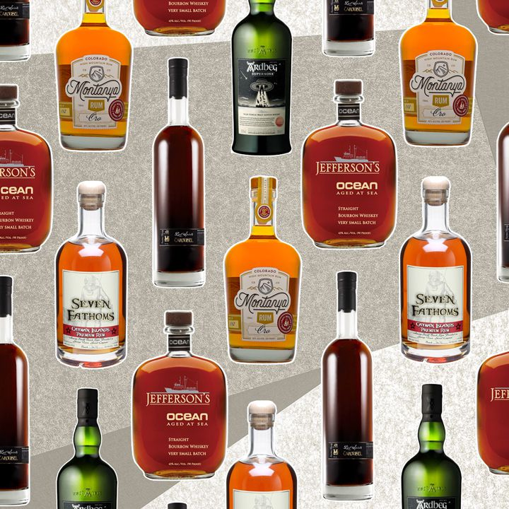 a collage of uniquely aged spirits bottles