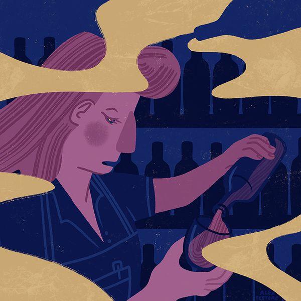 Illustration of a bartender with SAD