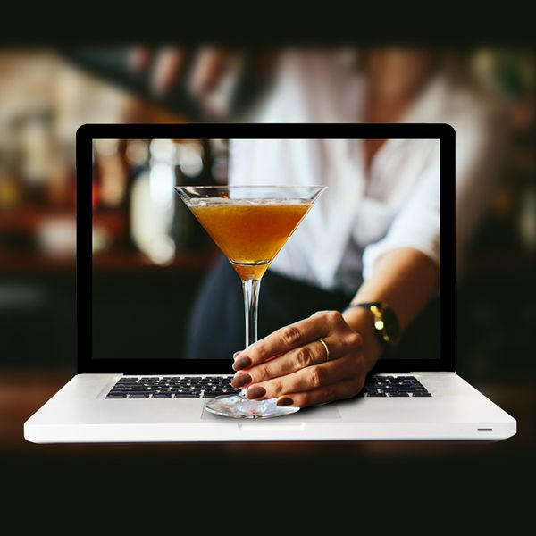 Laptop with cocktail