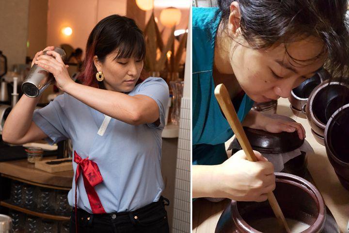 Reception Bar bartender Katie Rue (left) and sool producer Yong Ha Jeong