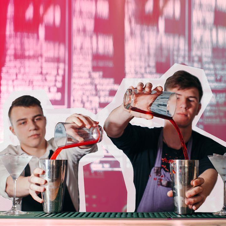 Bartenders pouring drinks