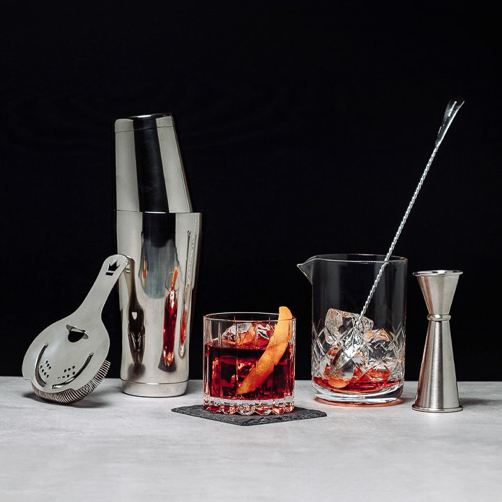 Bar tools and glassware